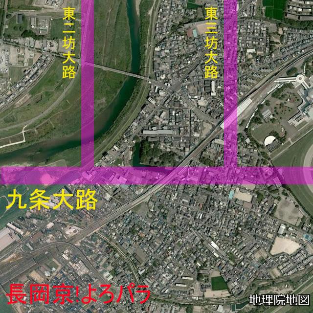 従来の淀城南堀と長岡京九条大路との位置関係