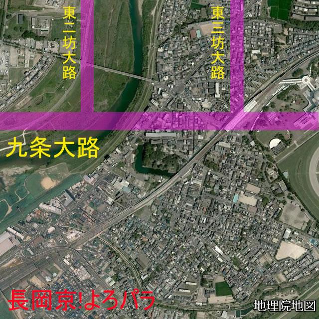 最新の淀城南堀と長岡京九条大路との位置関係